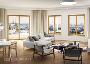 Fenêtre en PVC ton bois Oknoplast