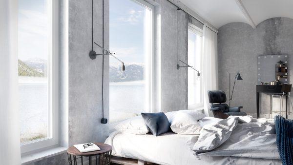 Fenêtres en aluminium et porte d'entree ALUHAUS par Oknoplast.