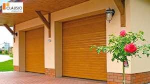 porte de garage roulante ou enroulable coloris chêne dore clausio